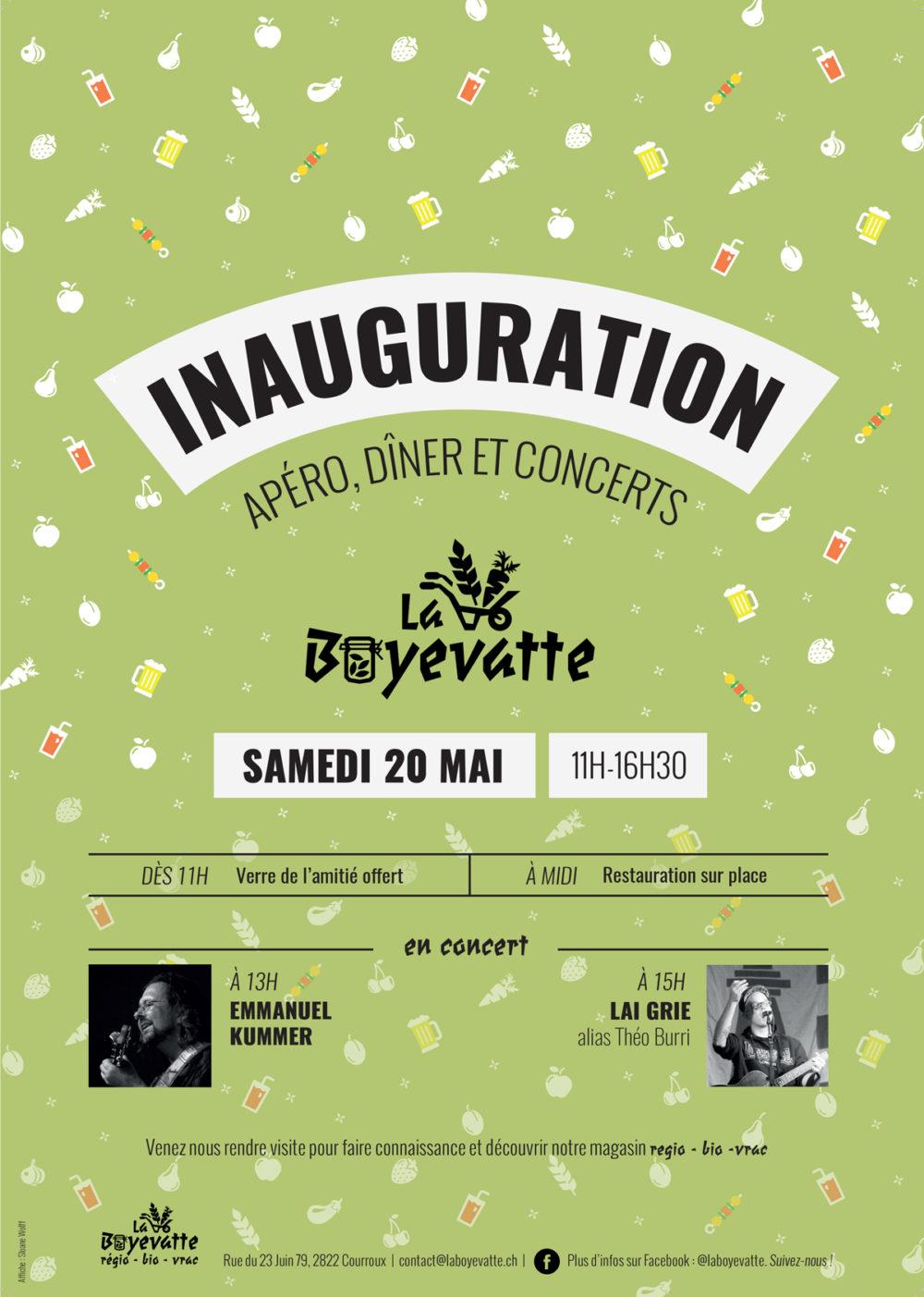 Affiche d'inauguration pour La Boyevatte