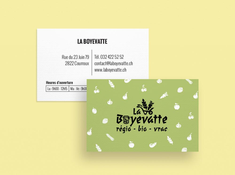 Cartes de visite recto-verso en papier recyclé.
