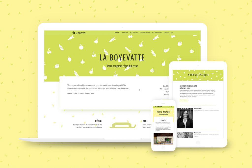 Différentes pages du site internet de La Boyevatte