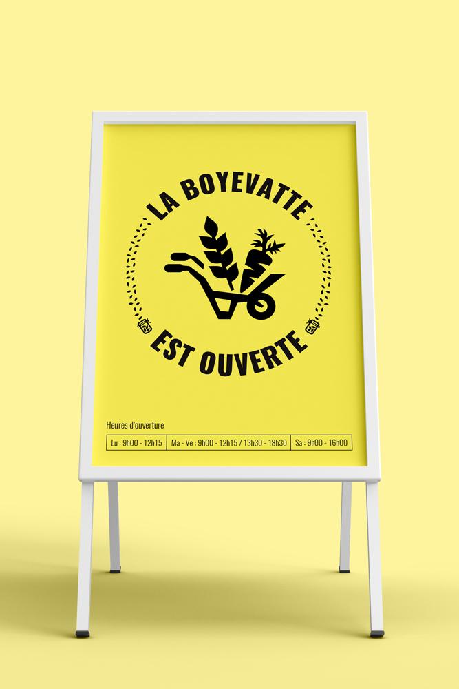 Pancarte des heures d'ouverture de La Boyevatte.
