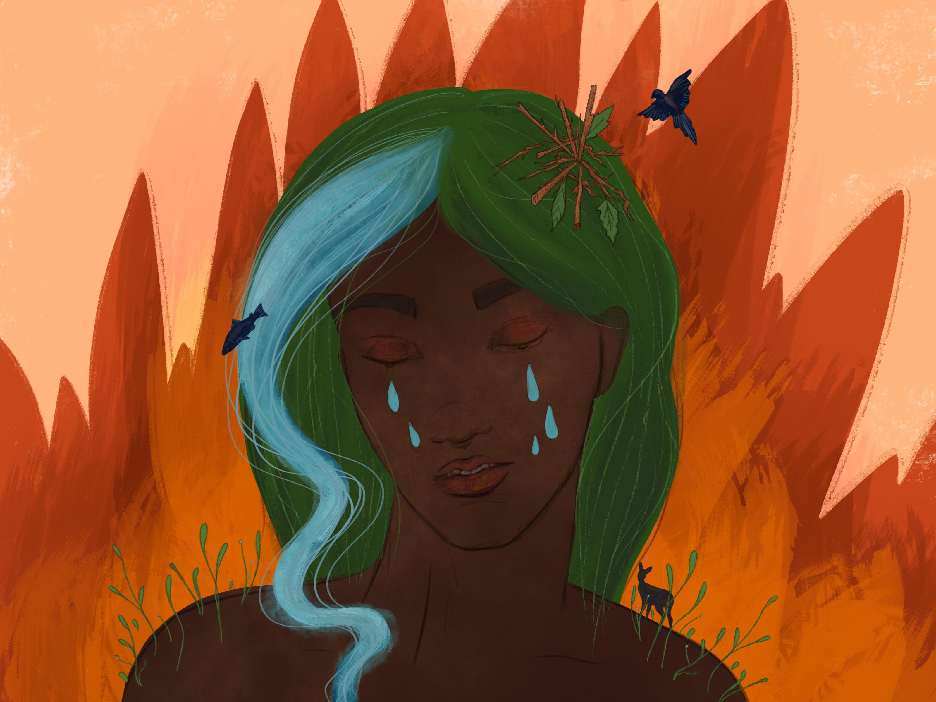 Une femme à la peau foncée et aux cheveux verts pleure. Il y a des animaux autour d'elle et le feu derrière.