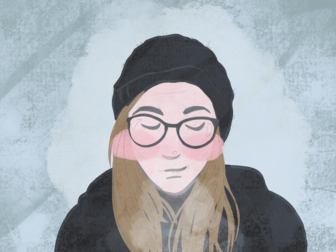 Visage avec un bonnet et les joues rosies par le froid