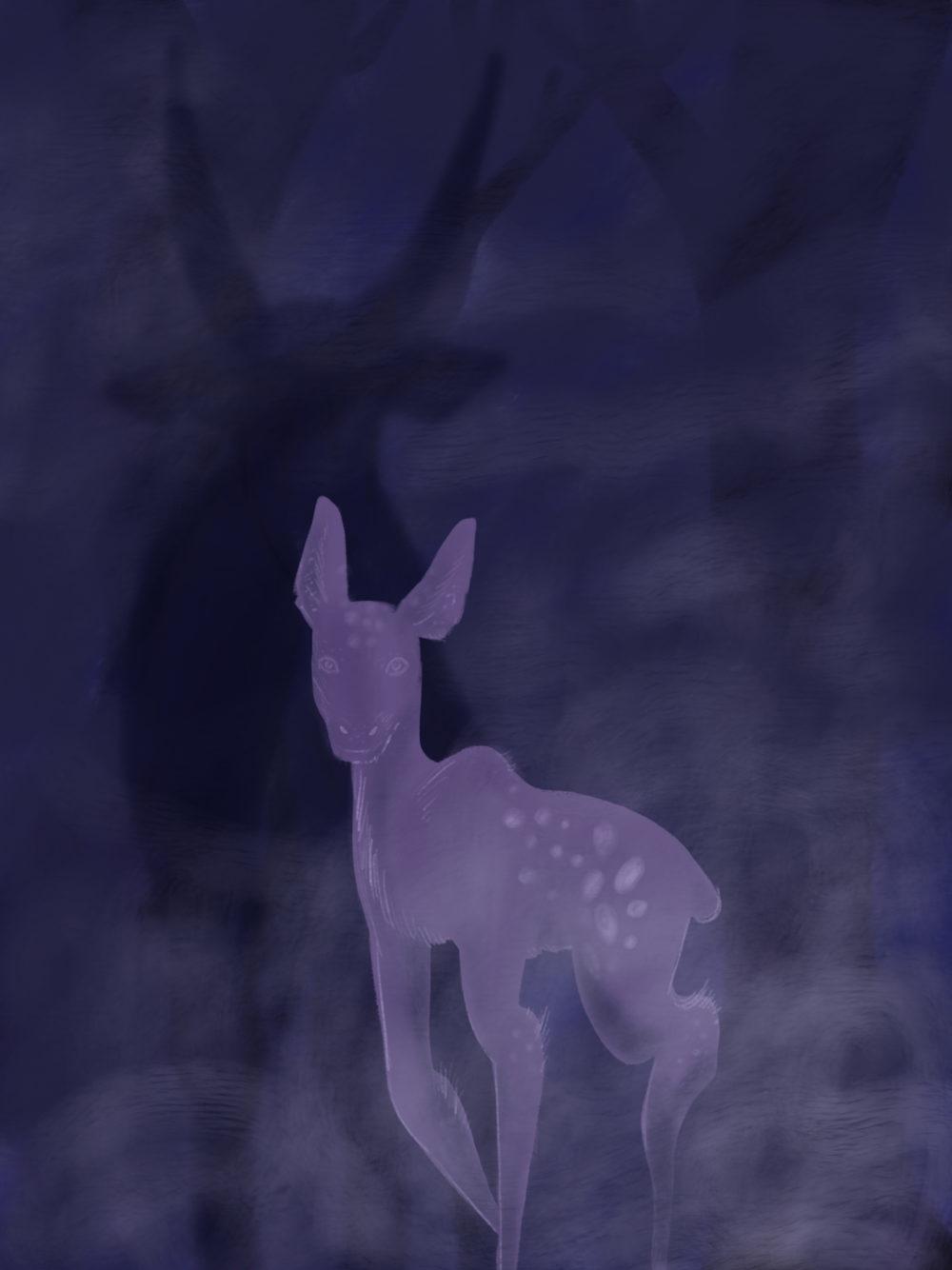 Faon violet devant l'ombre d'un grand cerf