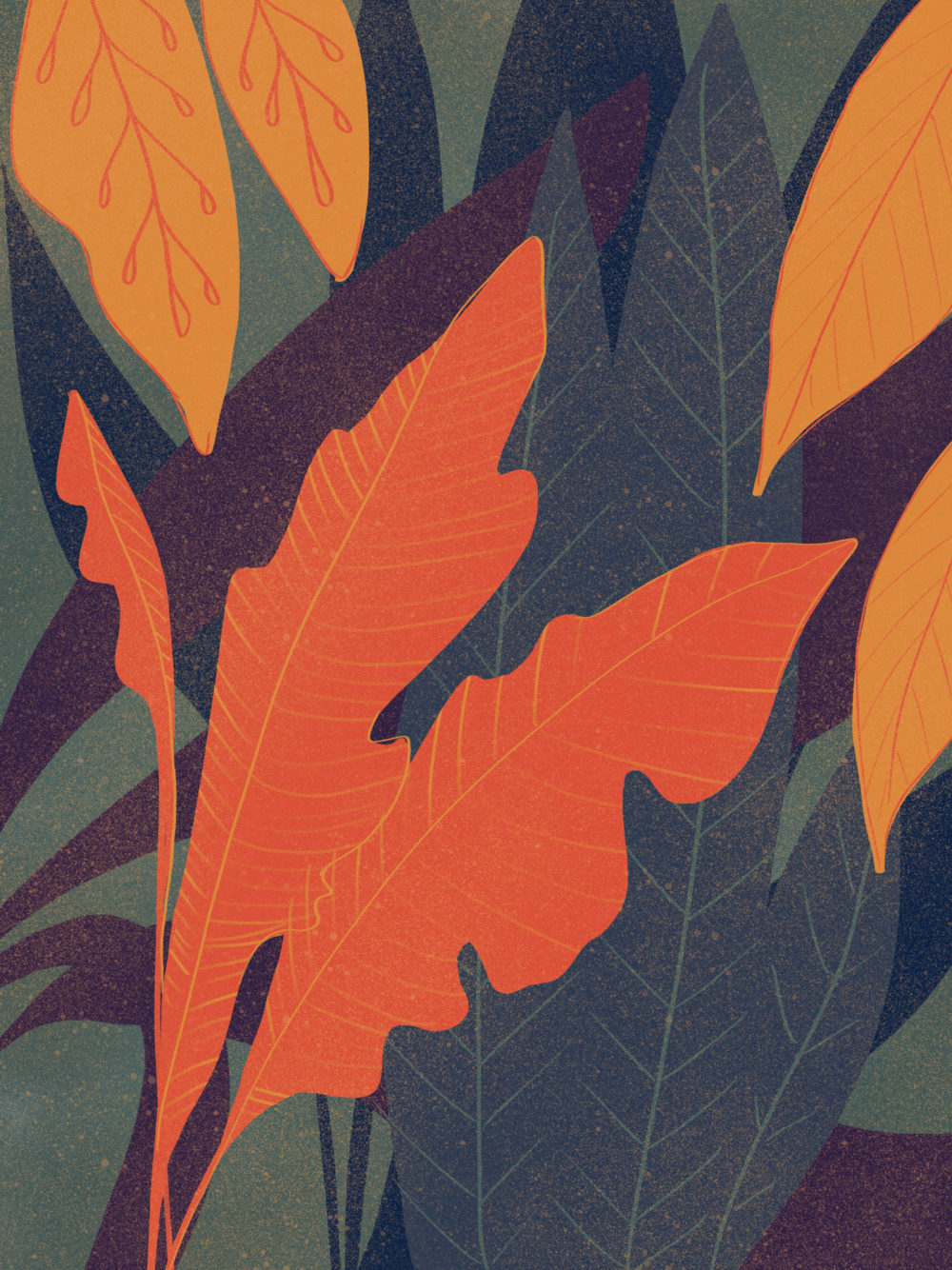 Illustration digitale de feuilles colorées