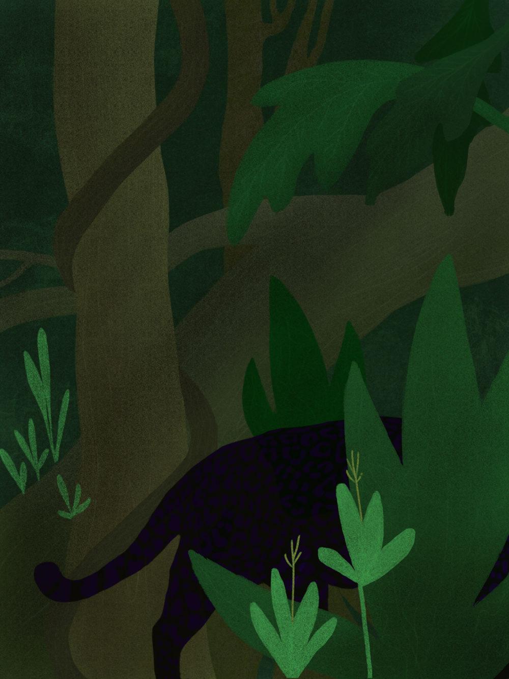 Illustration digitale d'une jungle, avec une panthère noire derrière des feuilles