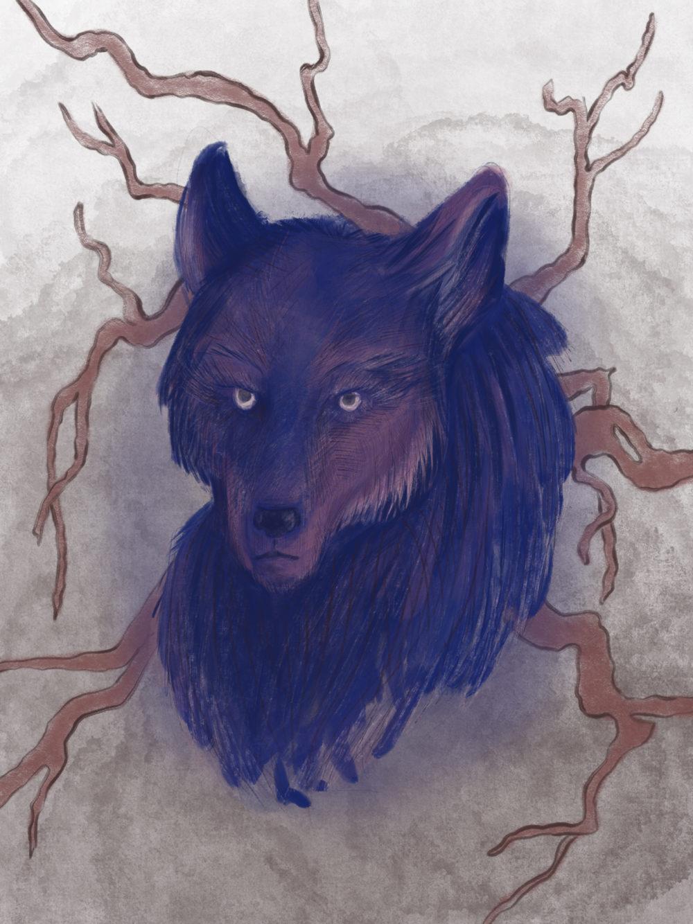 Illustration digitale d'une tête de loup
