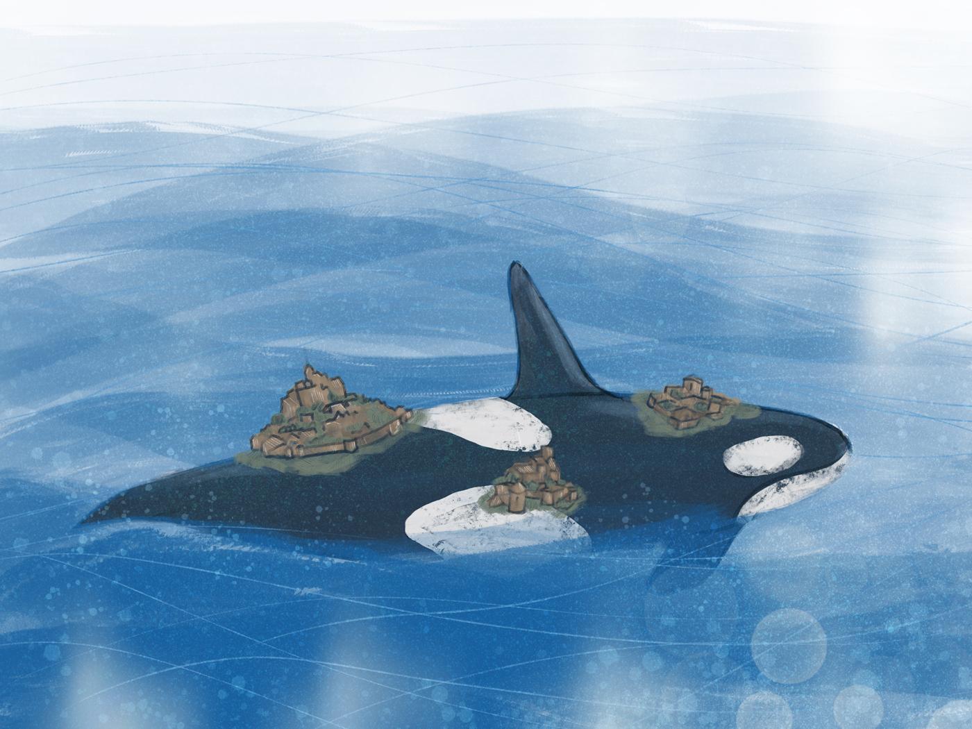 Orque dans l'océan, avec des villes sur le dos
