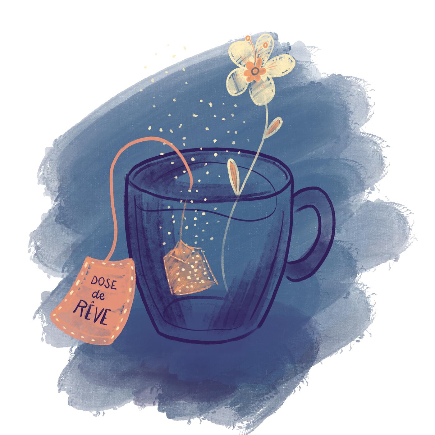 """Tasse de thé d'où sort une fleur. Le sachet est appelé """"dose de rêve"""""""