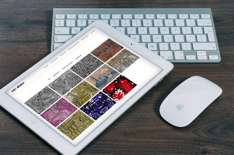 Page du site internet d'Yves Hänggi ouvert sur tablette