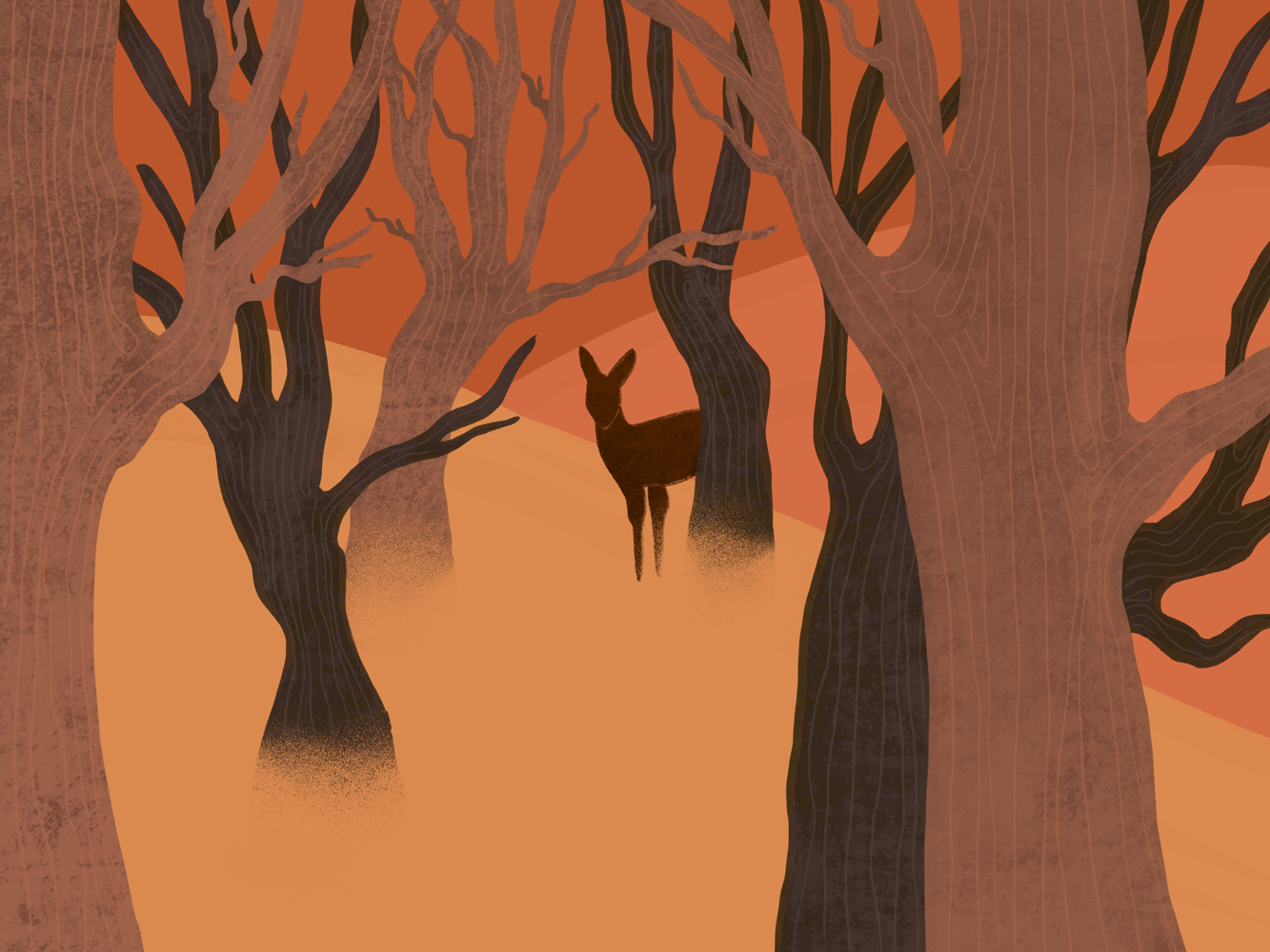 Biche au milieu des arbres aux couleurs orangées