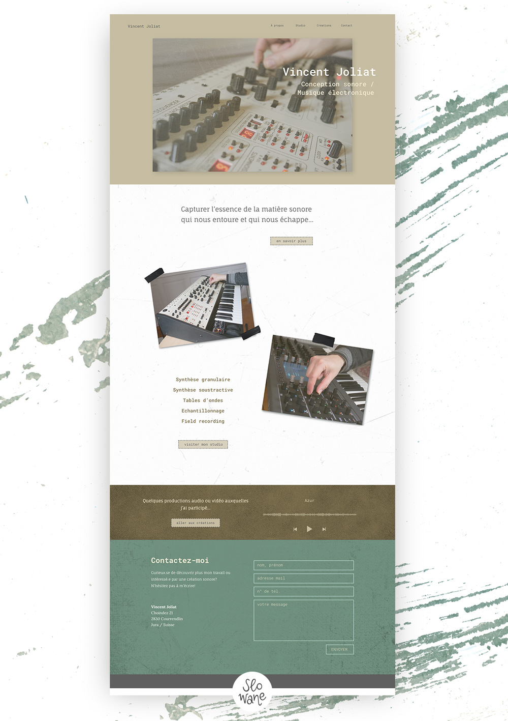 Web design de la page d'accueil du site Vincent Joliat