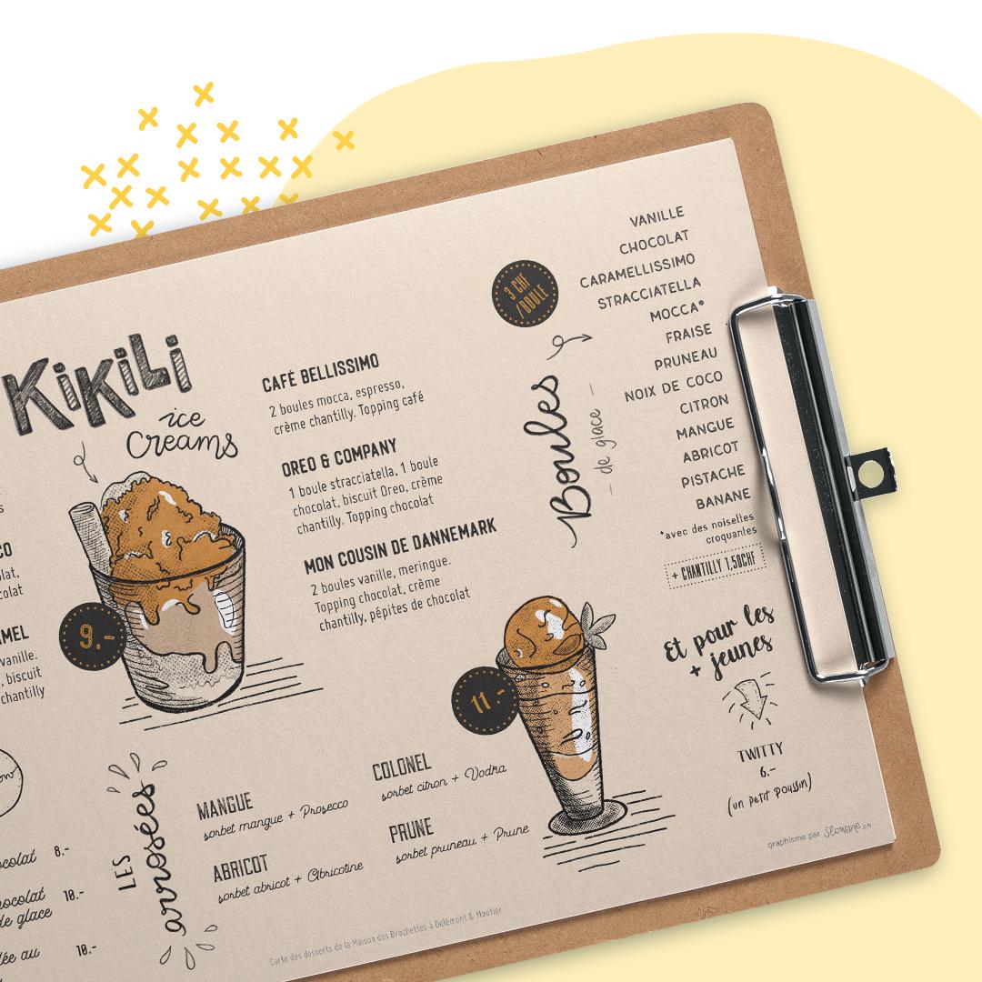 Carte des desserts pour Maison des Brochettes