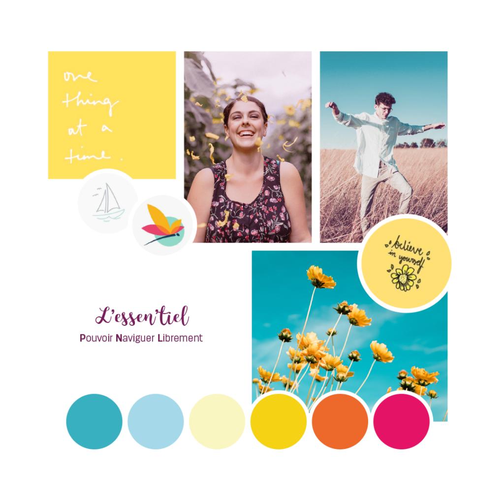Choix de couleurs vives et d'images pleines de joie pour l'identité visuelle de L'Essen'tiel