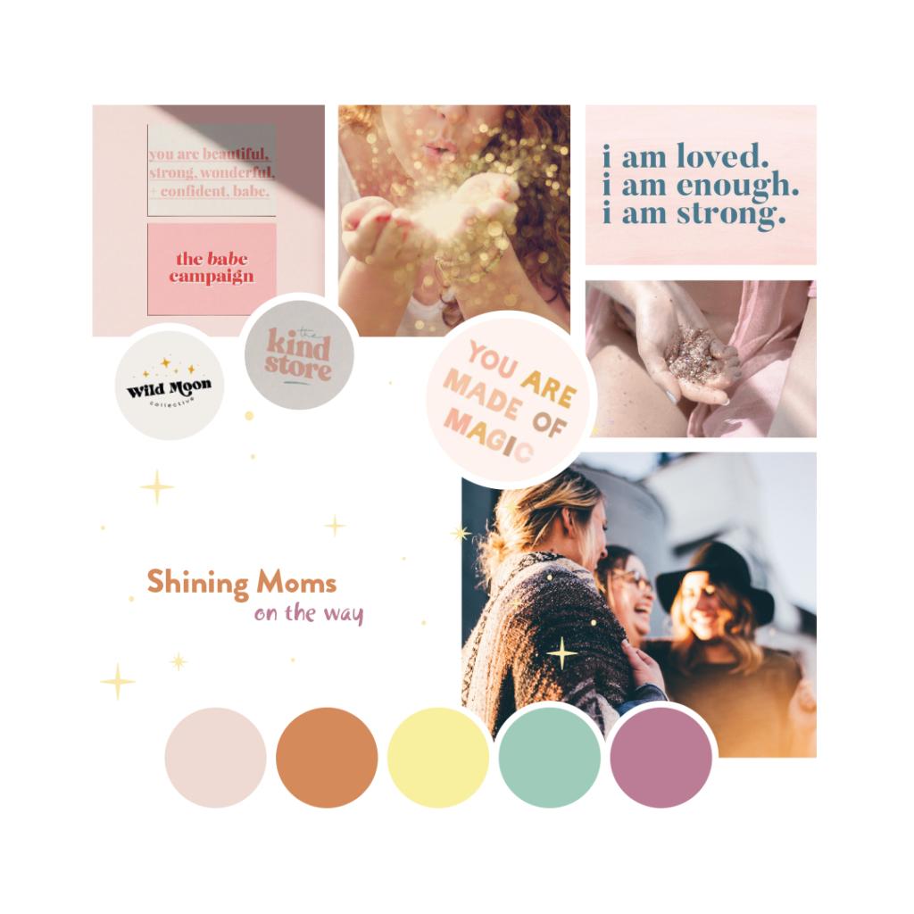 Choix de couleurs dans les tons chaud et images féministes et joyeuses pour le projet d'identité visuelle de Shining Moms on the way