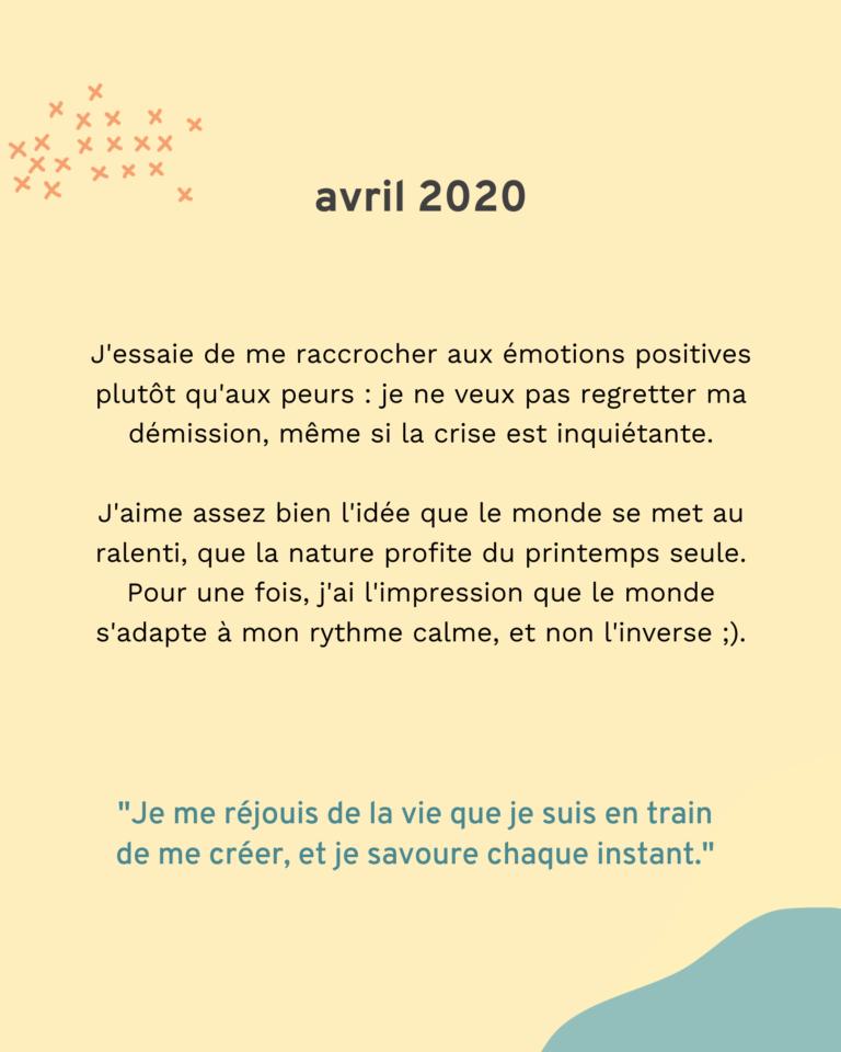 Bilan 2020 : avril
